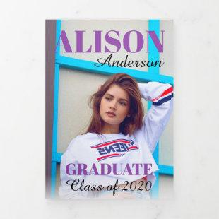 Purple typography Class of 2020 graduation photo Tri-Fold Announcement