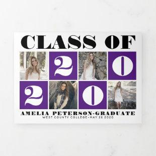 Purple typography Class of 2020 photo collage Tri-Fold Announcement