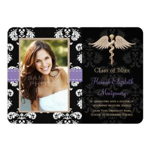 Purple Vet School Graduation Announcements Invites