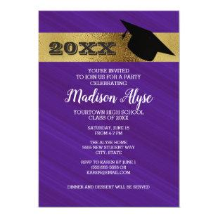 Purple Violet with Gold and Graduation Cap Party Invitation