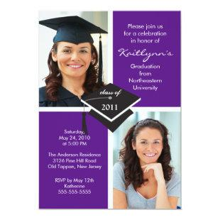 Purple & White Photo Graduation Invitation