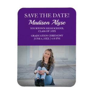 Purple White Photo Graduation Save the Date Magnet