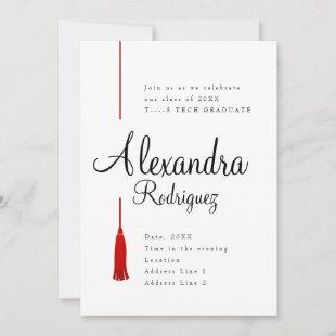 Raider Red Tassel Graduation Invitation