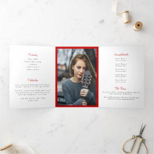 Raider Red Tassel Graduation Photo Tri-Fold Invitation