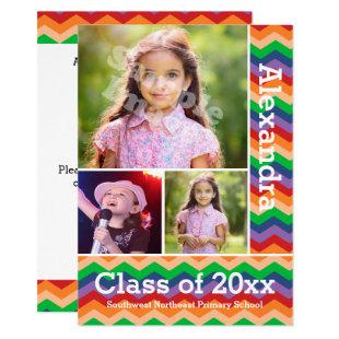 Rainbow Chevron Kid's Photo Graduation Preschool/K Invitation