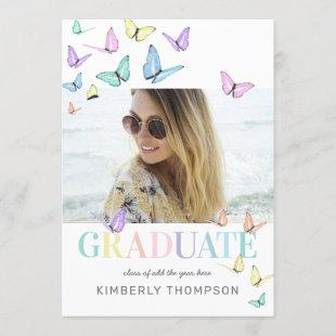 Rainbow Pastel Butterflies Photo Graduation Party Invitation
