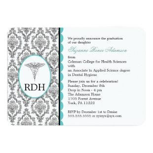 RDH Graduation Dental Hygienist Hygiene damask Invitation