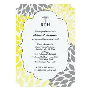 RDH RN BSN graduation ceremony invites yellow gray