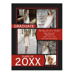 Red 5-Photo Collage Graduation Announcement Postcard