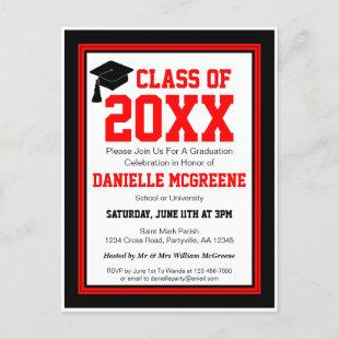Red and Black Class Year Graduation Party Invitation Postcard