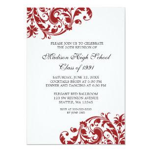Red and Black Flourish Class Reunion Invitation