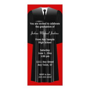 Red and Black Mens Graduation Invitation