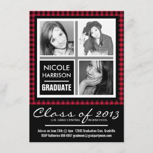 Red and Black Plaid Gingham 3 Photo Grad Party Invitation