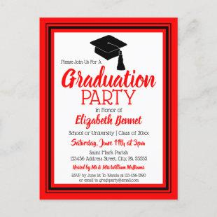 Red and Black School Colors Grad Party Invitation Postcard