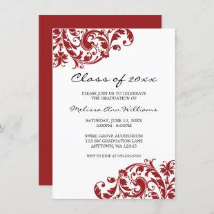 Red and Black Swirl Graduation Announcement