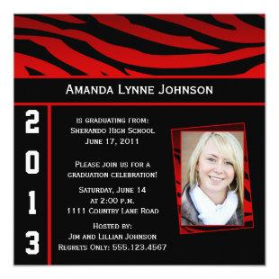 Red and Black Zebra Print Graduation Invitation