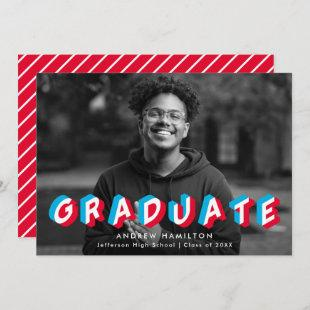 Red and Blue | Anaglyph Photo Graduation Party Invitation
