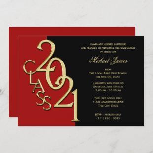 Red and Gold Class of 2021 Grad with Color Option Invitation