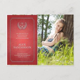 Red and Silver Law School Graduation Announcement