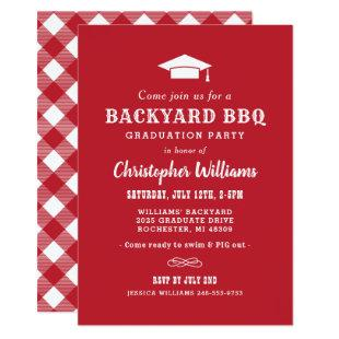 Red and White Backyard BBQ Graduation Party Invitation