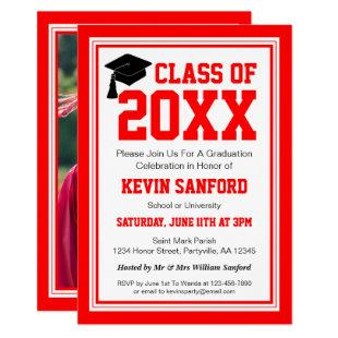 Red and White Photo Graduation Party Invitation
