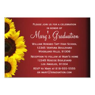 Red and Yellow Sunflower Graduation Invitation