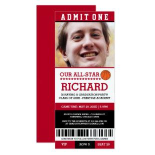 Red & Black Basketball Graduation Party Invites