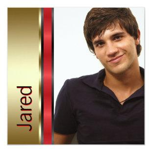 Red Black Gold Boys Photo Graduation Announcements
