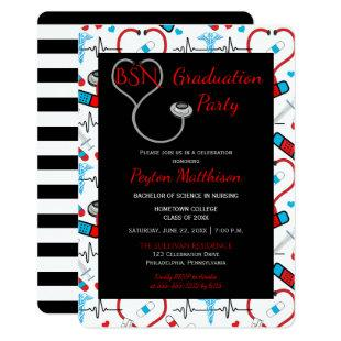 Red | Black Medical Nurse Graduation Party Invitation