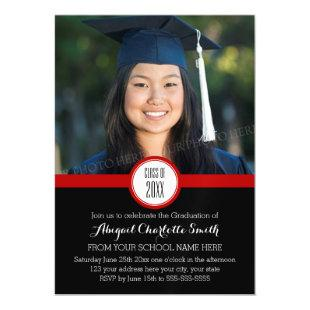 Red Black Modern Graduation Party Magnetic Card