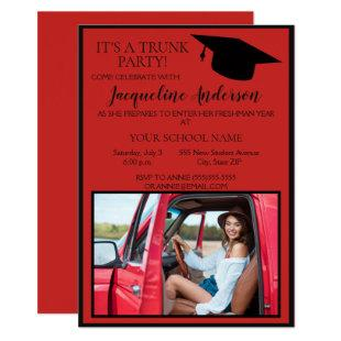 Red Black Photo College Trunk Party Invitation