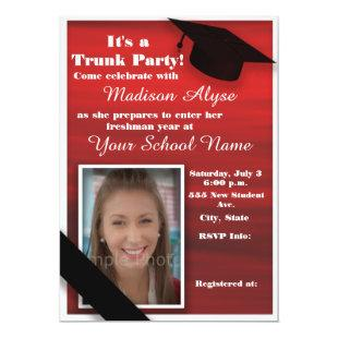 Red Black White College Trunk Party Dorm Shower Invitation