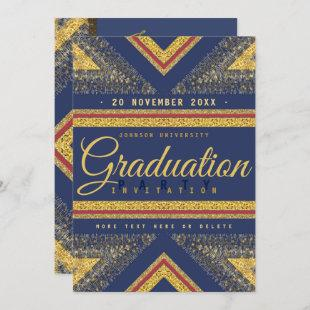 Red Blue & Gold Stylish Graduation Party Invite