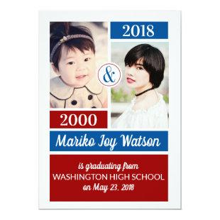 Red Blue School Colors Then and Now Graduation Invitation