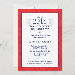 Red Blue & White Formal Graduation Party Invite