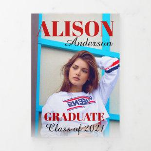 Red bold typography Class of 2021 graduation photo Tri-Fold Announcement