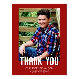 Red Border Photo Graduation Thank You Postcard