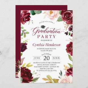 Red Burgundy Floral Class of 2021 Graduation Party Invitation