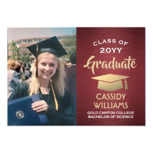 Red Burgundy Gold Graduate Photo Graduation Party Invitation