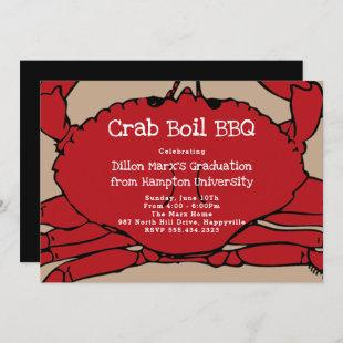 Red Crab Boil BBQ Party Graduation Invitation