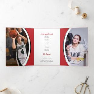 Red Curved Frame Three Photo Graduation Tri-Fold Invitation