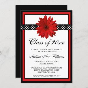 Red Daisy Polka Dots Graduation Announcement