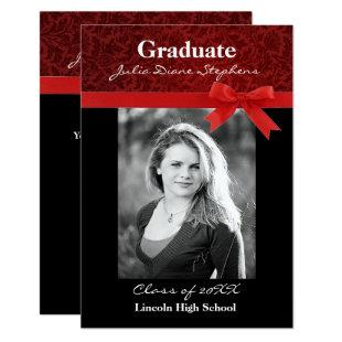 Red Damask & Red Bow - 3x5 Graduation Announcement