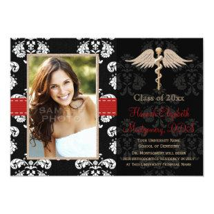 Red Dental School Graduation Announcements Invite