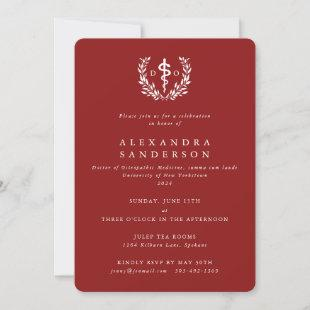 Red Doctor of Osteopathic Medicine Graduation Invitation