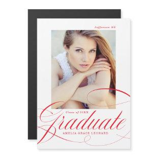 Red | Eloquence Photo Graduation Magnetic Invitation