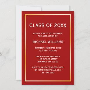 Red Gold Border Graduation Announcement