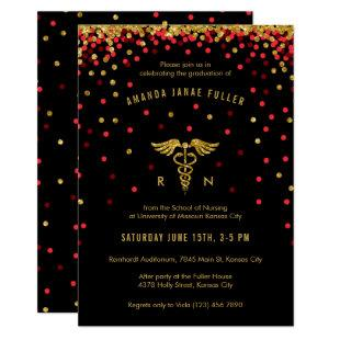 Red & Gold Confetti Nursing Graduation Invitation