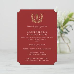 Red/Gold Doctor of Osteopathic Medicine Graduation Invitation