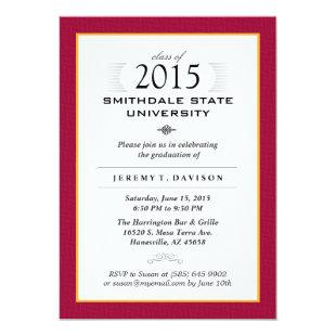 Red & Gold Formal Graduation Party Invite